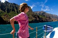 Navegación de la costa Kauai de Napali Foto de archivo