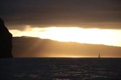 Navegación de la puesta del sol en el Acores Fotografía de archivo libre de regalías