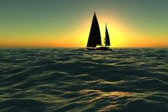 Navegación del barco en puesta del sol Fotografía de archivo