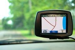 Navegación del GPS en coche que viaja Foto de archivo libre de regalías