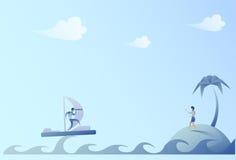 Navegación del hombre de negocios en el barco que mira con el concepto binocular de On Island Success de la empresaria Fotografía de archivo libre de regalías
