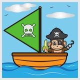 Navegación del mono del pirata en el mar Fotografía de archivo