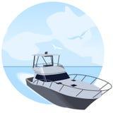 Navegación del yate por el mar stock de ilustración