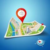 Navegación doblada de los mapas con los marcadores del punto del color rojo Imagen de archivo libre de regalías