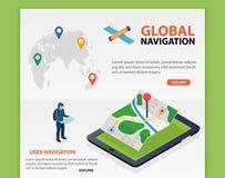 Navegación global La navegación GPS móvil isométrica plana 3d traza vector Perno de la silueta del mundo Haga tabletas con el nav Foto de archivo libre de regalías