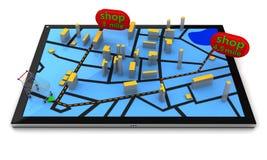 Navegación GPS en Tablet PC ilustración del vector