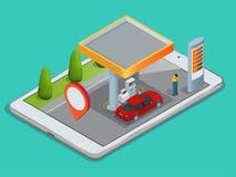 Navegación GPS móvil, concepto de la gasolinera Vea un mapa en el teléfono móvil en los coordenadas de GPS del coche y de la búsq Fotografía de archivo