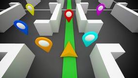 Navegación GPS y marcas en un mapa Imagenes de archivo