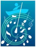 Navegación humana sobre las ondas de la música Fotos de archivo libres de regalías