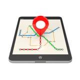Navegación vía Tablet PC Indicador de la ubicación en Tablet PC con ABS libre illustration