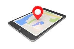 Navegación vía Tablet PC Indicador de la ubicación en Tablet PC con el mapa stock de ilustración