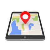 Navegación vía Tablet PC Indicador de la ubicación en Tablet PC con el mapa ilustración del vector
