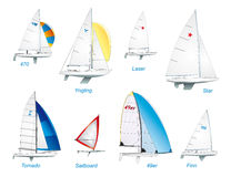 Navegación. Clases olímpicas del barco de vela Foto de archivo libre de regalías
