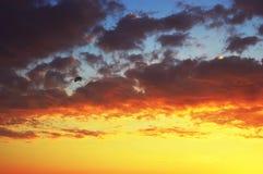 Navegación de Para en la puesta del sol Fotografía de archivo libre de regalías