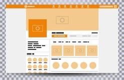Navegador ascendente falso de la página web ilustración del vector