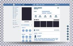 Navegador ascendente falso de la página web, concepto de interfaz social de la página en el ordenador portátil stock de ilustración