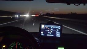 Navegador de GPS da tela de monitor na placa do barco filme