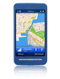 Navegador del GPS en smartphone de la pantalla táctil Imágenes de archivo libres de regalías
