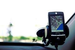 Navegador del GPS en vehículo. Foto de archivo