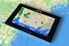 Navegador do GPS no mapa Foto de Stock Royalty Free