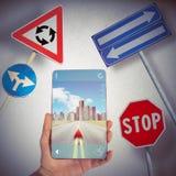 Navegador y señales de tráfico de GPS Imágenes de archivo libres de regalías