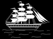 Navegando a fragata branca preta do navio da silhueta retro Imagens de Stock