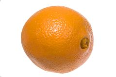 Navel Orange. A very orange navel orange, fruit and juicie Royalty Free Stock Photography