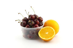 Navel orange and cherry for health Stock Photos