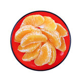 Navel Orange Slices Red Plate Stock Photo