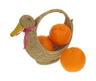 Navel Oranges Duck Basket Stock Images