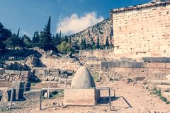 Navel to the world at the Temple of Apollo Royalty Free Stock Photography