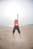 Navel woman at Tarifa beach Stock Photos