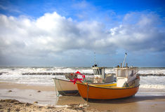 Naves aterrizadas en la playa Fotografía de archivo