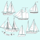 naves Conjunto de bosquejos Foto de archivo
