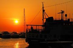 Naves de la puesta del sol Imagen de archivo