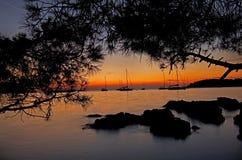 Naves de la puesta del sol Fotos de archivo libres de regalías