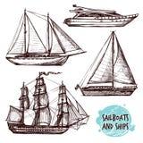 Naves de la vela fijadas Fotos de archivo
