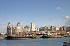 Naves de Liverpool en muelle Foto de archivo libre de regalías