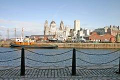 Naves de Liverpool en muelle Imagen de archivo libre de regalías
