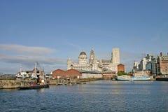 Naves de Liverpool en muelle Imágenes de archivo libres de regalías
