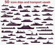 50 naves de los iconos del vector Fotos de archivo libres de regalías