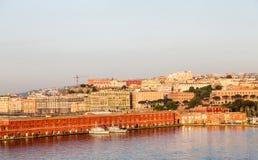 Naves de los militares en el puerto de Nápoles Imágenes de archivo libres de regalías