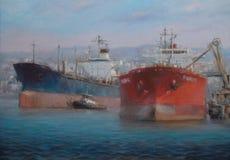 Naves de petrolero, pintura hecha a mano clásica Imagenes de archivo