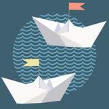 Naves del papel de la papiroflexia con las banderas Ilustración del Vector