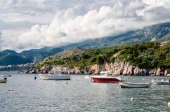 Naves em regionis Montenegro de Milocer da baía Fotografia de Stock Royalty Free