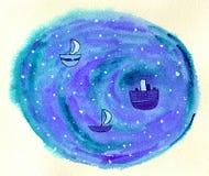 Naves en el océano Stock de ilustración