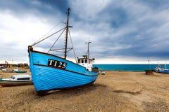 Naves en la playa de Vorupoer Fotografía de archivo libre de regalías