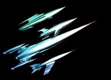 Naves espaciais retros do cromo do estilo Fotografia de Stock Royalty Free