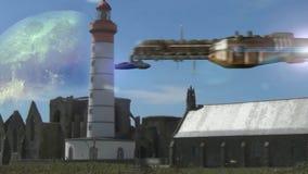 Naves espaciales futuristas sobre Francia