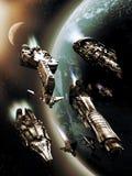 Naves espaciales sobre la tierra stock de ilustración